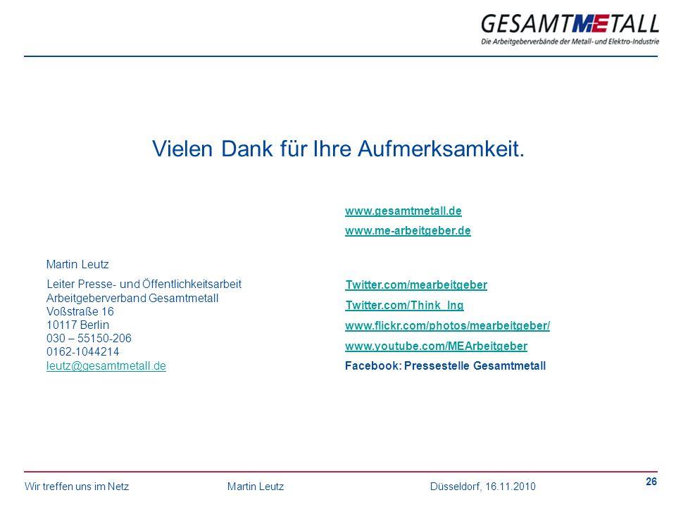 Wir treffen uns im NetzMartin Leutz Düsseldorf, 16.11.2010 26 Vielen Dank für Ihre Aufmerksamkeit. Martin Leutz Leiter Presse- und Öffentlichkeitsarbe