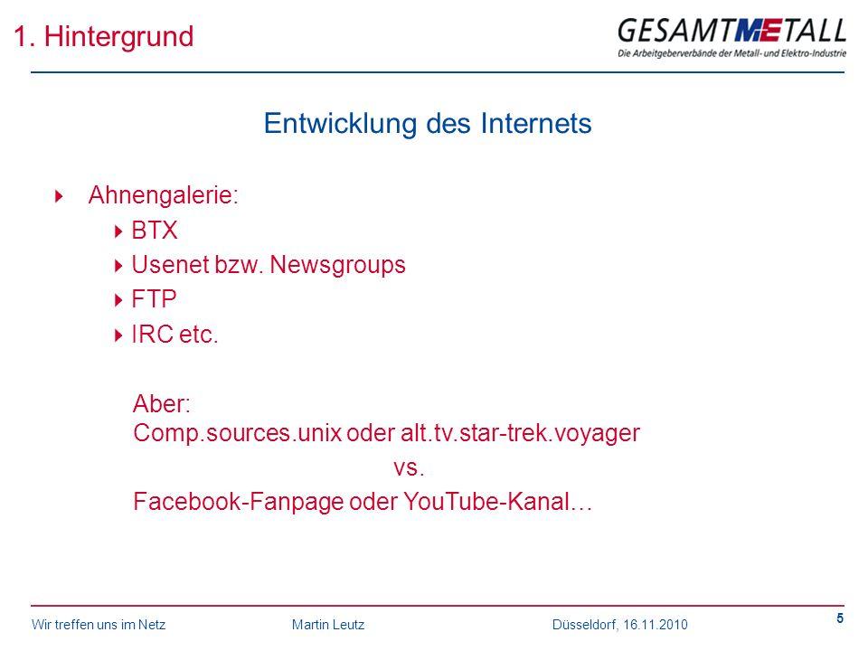 Wir treffen uns im NetzMartin Leutz Düsseldorf, 16.11.2010 5 1. Hintergrund Entwicklung des Internets Ahnengalerie: BTX Usenet bzw. Newsgroups FTP IRC