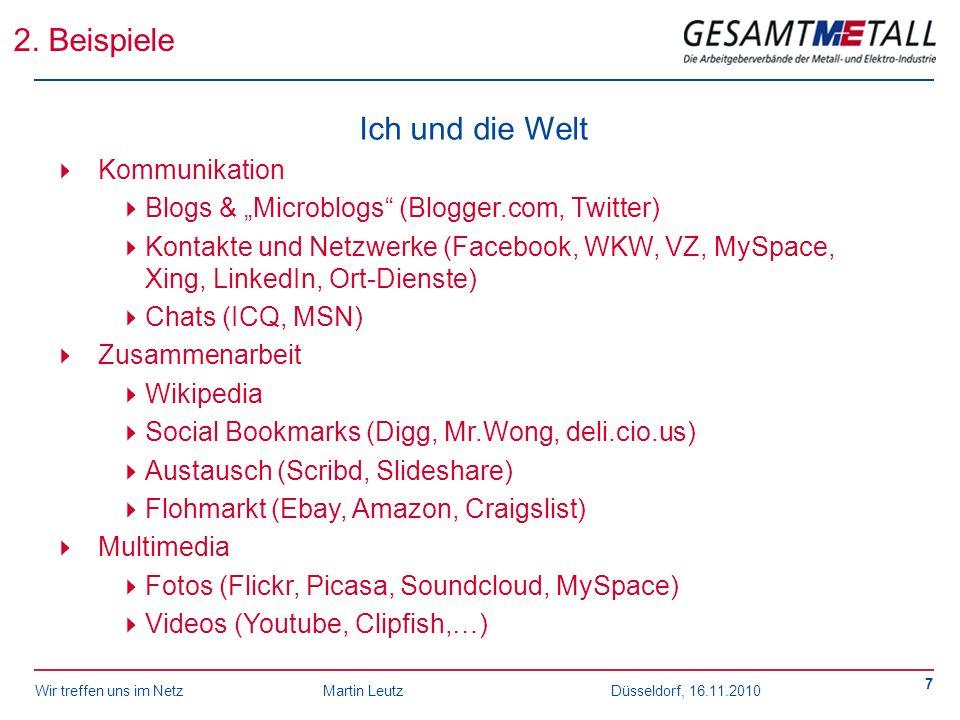 Wir treffen uns im NetzMartin Leutz Düsseldorf, 16.11.2010 7 2. Beispiele Ich und die Welt Kommunikation Blogs & Microblogs (Blogger.com, Twitter) Kon