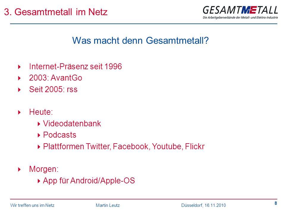 Wir treffen uns im NetzMartin Leutz Düsseldorf, 16.11.2010 8 3. Gesamtmetall im Netz Was macht denn Gesamtmetall? Internet-Präsenz seit 1996 2003: Ava