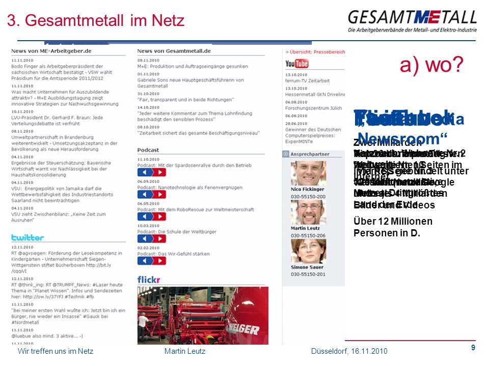 Wir treffen uns im NetzMartin Leutz Düsseldorf, 16.11.2010 9 3. Gesamtmetall im Netz YouTube Zwei Milliarden Videoabrufe pro Tag. Internetseite Nr. 3