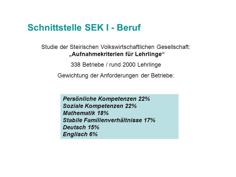 Schnittstelle SEK I - Beruf Persönliche Kompetenzen 22% Soziale Kompetenzen 22% Mathematik 18% Stabile Familienverhältnisse 17% Deutsch 15% Englisch 6