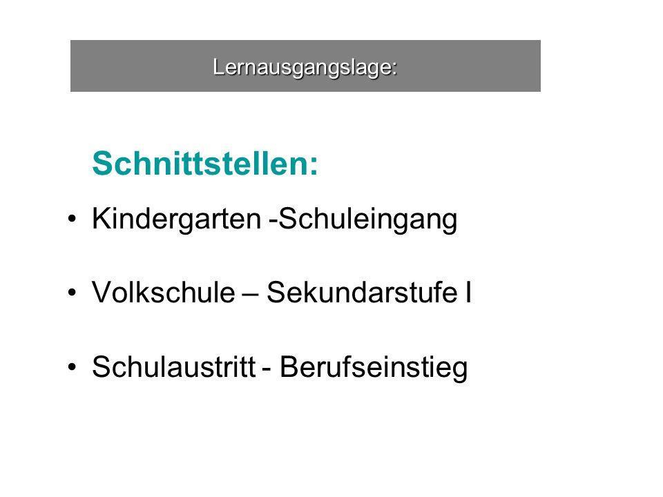 Lernausgangslage: Schnittstellen: Kindergarten -Schuleingang Volkschule – Sekundarstufe I Schulaustritt - Berufseinstieg