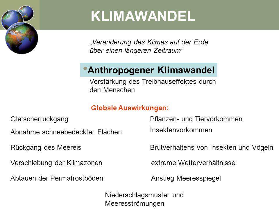 KLIMAWANDEL Veränderung des Klimas auf der Erde über einen längeren Zeitraum Anthropogener Klimawandel Verstärkung des Treibhauseffektes durch den Men