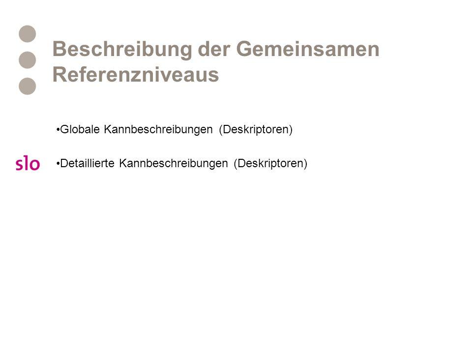 Beschreibung der Gemeinsamen Referenzniveaus Globale Kannbeschreibungen (Deskriptoren) Detaillierte Kannbeschreibungen (Deskriptoren)