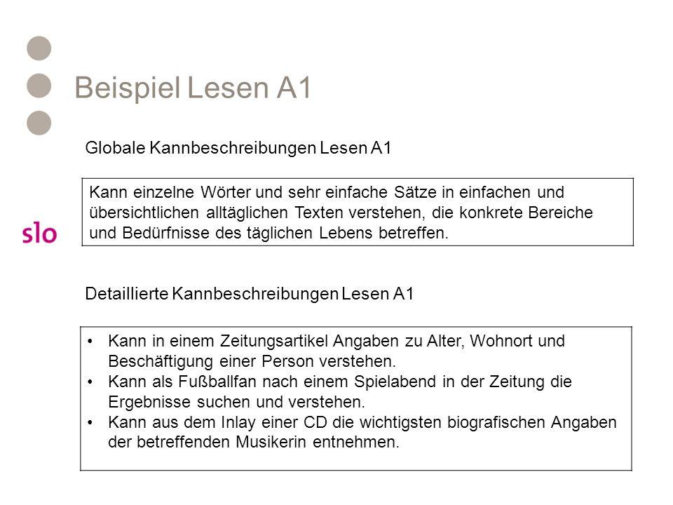 Beispiel Lesen A1 Kann einzelne Wörter und sehr einfache Sätze in einfachen und übersichtlichen alltäglichen Texten verstehen, die konkrete Bereiche und Bedürfnisse des täglichen Lebens betreffen.