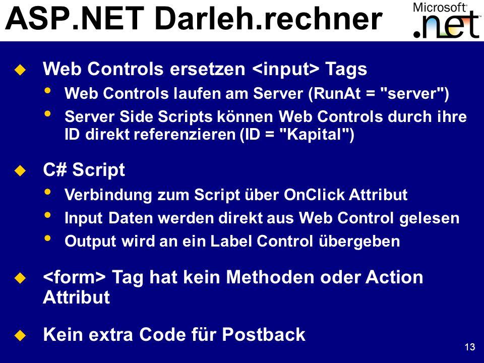 13 ASP.NET Darleh.rechner Web Controls ersetzen Tags Web Controls laufen am Server (RunAt =