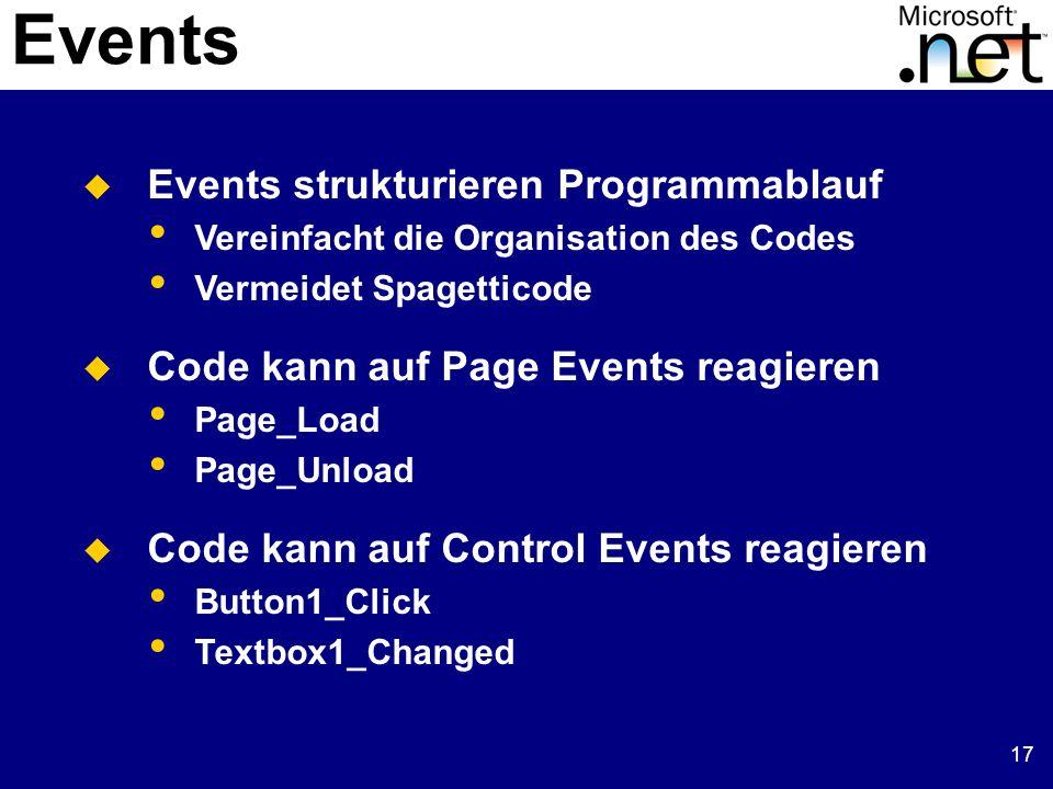 17 Events Events strukturieren Programmablauf Vereinfacht die Organisation des Codes Vermeidet Spagetticode Code kann auf Page Events reagieren Page_Load Page_Unload Code kann auf Control Events reagieren Button1_Click Textbox1_Changed