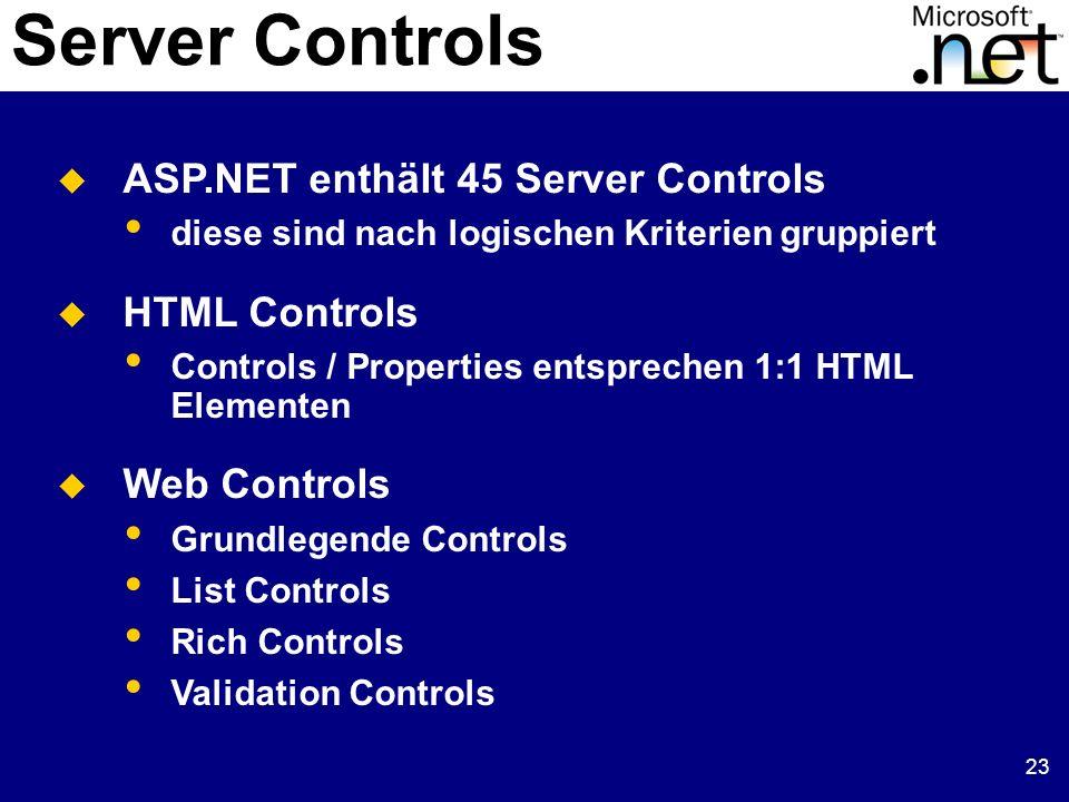 23 Server Controls ASP.NET enthält 45 Server Controls diese sind nach logischen Kriterien gruppiert HTML Controls Controls / Properties entsprechen 1:1 HTML Elementen Web Controls Grundlegende Controls List Controls Rich Controls Validation Controls