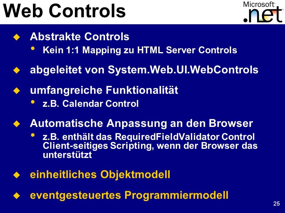 25 Web Controls Abstrakte Controls Kein 1:1 Mapping zu HTML Server Controls abgeleitet von System.Web.UI.WebControls umfangreiche Funktionalität z.B.