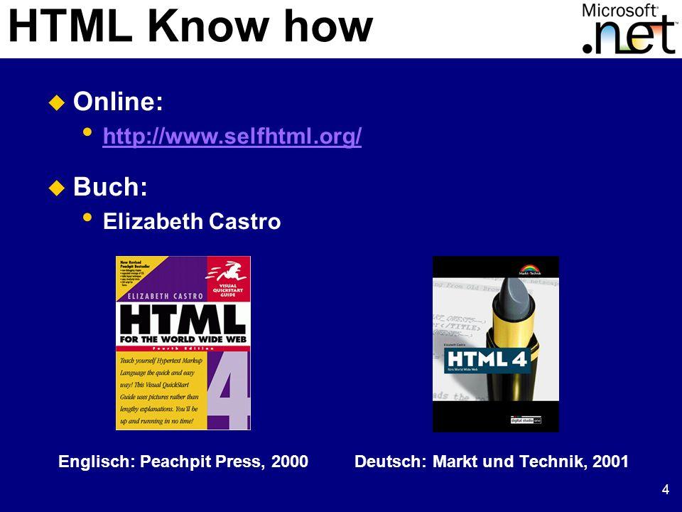 4 HTML Know how Englisch: Peachpit Press, 2000 Deutsch: Markt und Technik, 2001 Online: http://www.selfhtml.org/ Buch: Elizabeth Castro