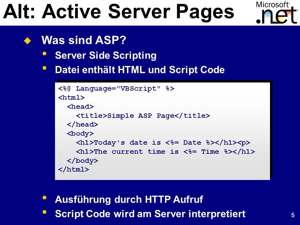 5 Alt: Active Server Pages Was sind ASP.