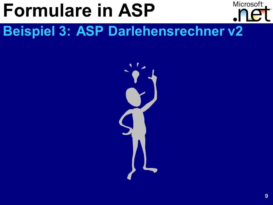 9 Formulare in ASP Beispiel 3: ASP Darlehensrechner v2