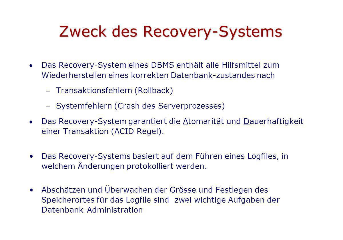 Zweck des Recovery-Systems Das Recovery-System eines DBMS enthält alle Hilfsmittel zum Wiederherstellen eines korrekten Datenbank-zustandes nach Trans