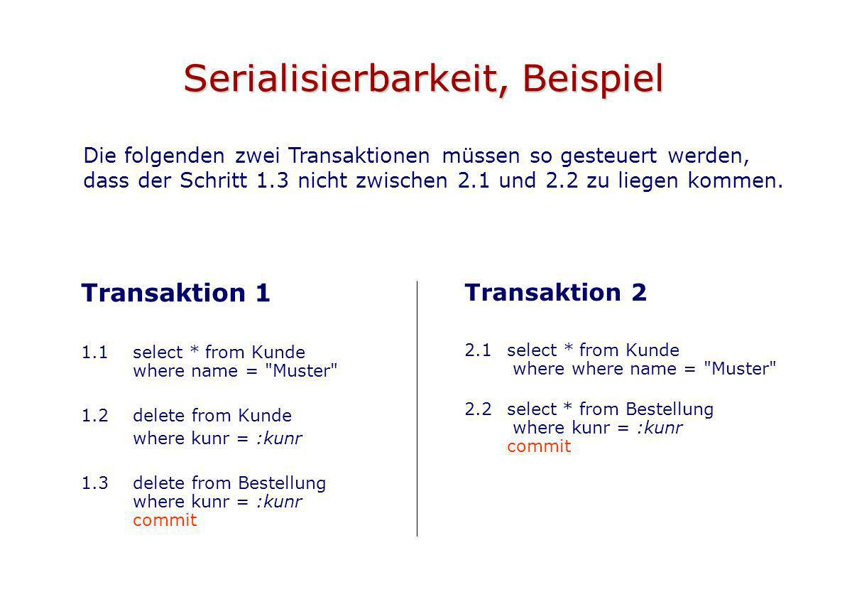 Serialisierbarkeit, Beispiel Transaktion 1 1.1select * from Kunde where name = Muster 1.2 delete from Kunde where kunr = :kunr 1.3delete from Bestellung where kunr = :kunr commit Transaktion 2 2.1select * from Kunde where where name = Muster 2.2select * from Bestellung where kunr = :kunr commit Die folgenden zwei Transaktionen müssen so gesteuert werden, dass der Schritt 1.3 nicht zwischen 2.1 und 2.2 zu liegen kommen.