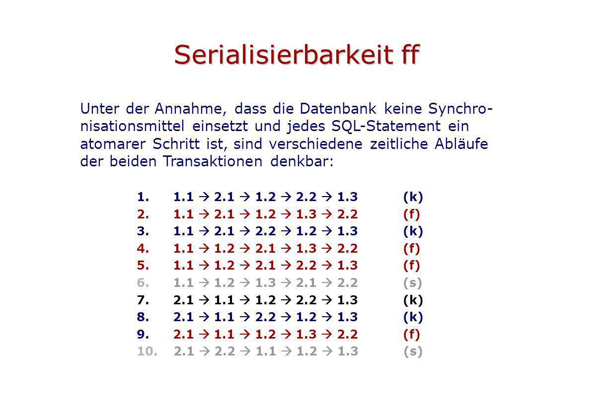 Serialisierbarkeit ff Unter der Annahme, dass die Datenbank keine Synchro- nisationsmittel einsetzt und jedes SQL-Statement ein atomarer Schritt ist,