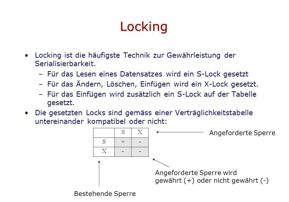 Locking Locking ist die häufigste Technik zur Gewährleistung der Serialisierbarkeit. –Für das Lesen eines Datensatzes wird ein S-Lock gesetzt –Für das