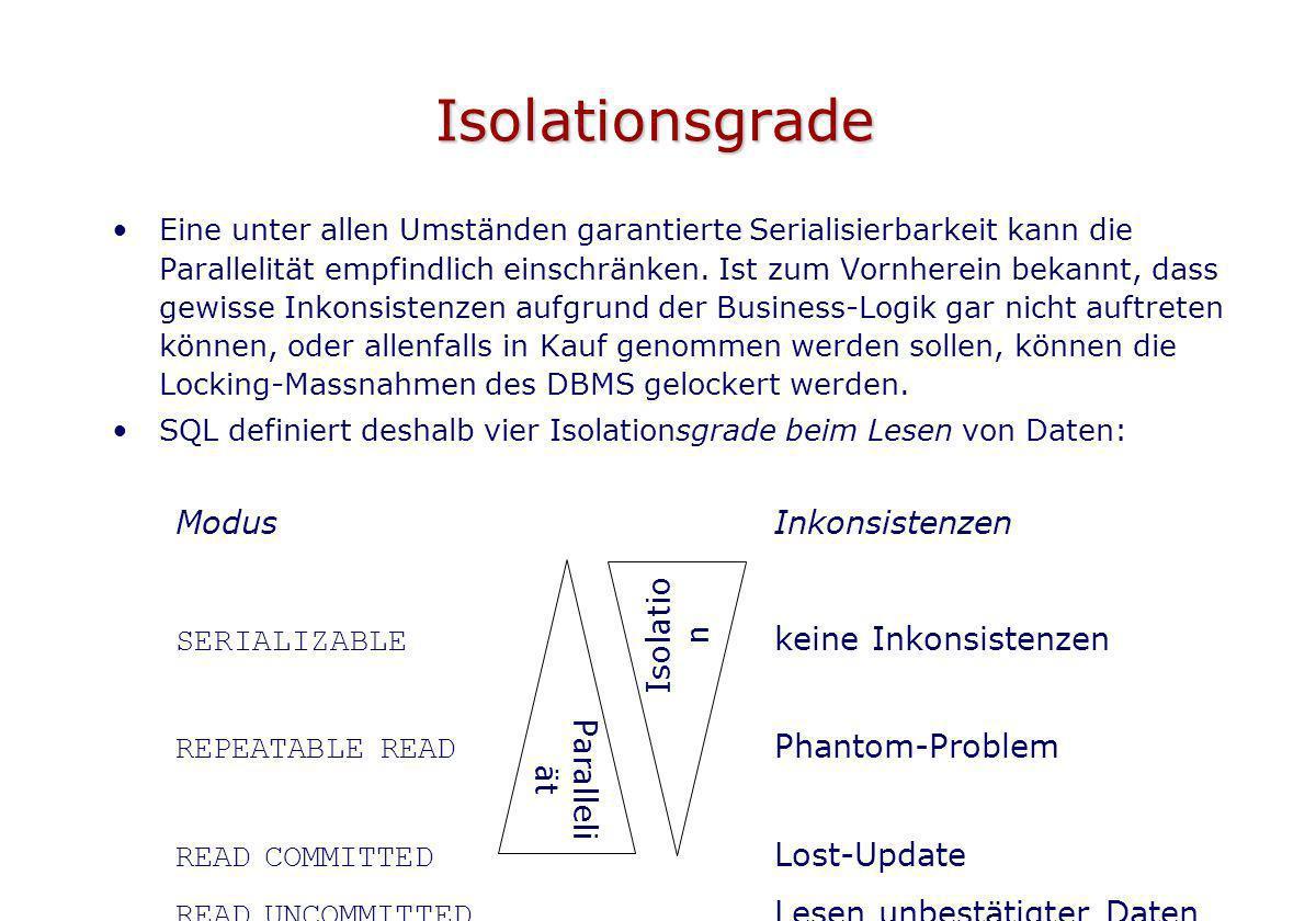 Isolationsgrade Eine unter allen Umständen garantierte Serialisierbarkeit kann die Parallelität empfindlich einschränken. Ist zum Vornherein bekannt,