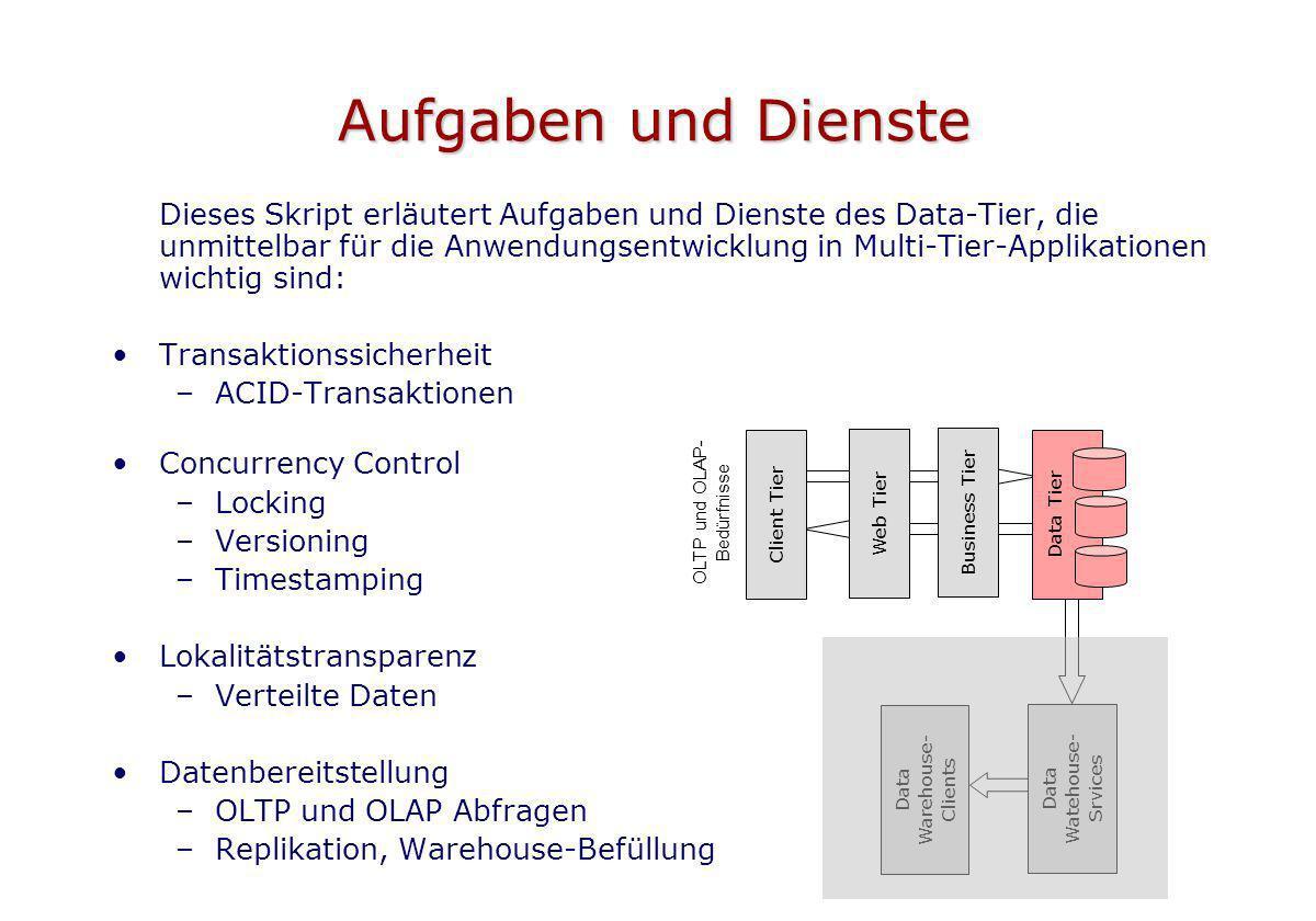 Aufgaben und Dienste Dieses Skript erläutert Aufgaben und Dienste des Data-Tier, die unmittelbar für die Anwendungsentwicklung in Multi-Tier-Applikati