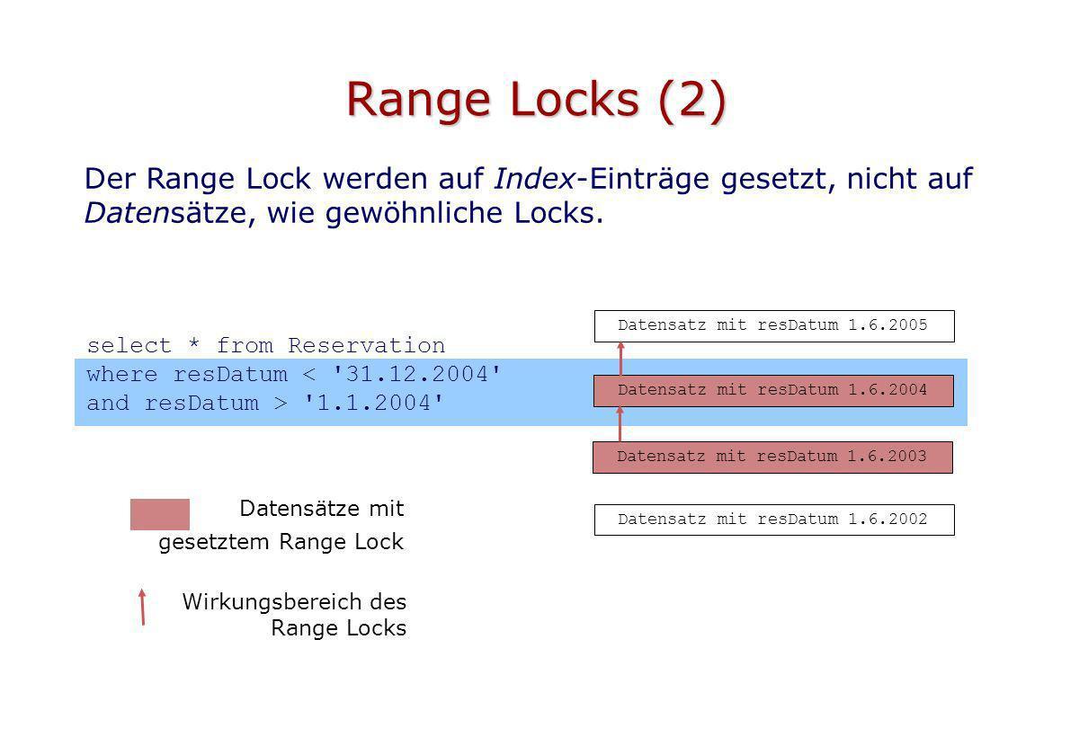 Range Locks (2) Datensatz mit resDatum 1.6.2005 Datensatz mit resDatum 1.6.2003 Der Range Lock werden auf Index-Einträge gesetzt, nicht auf Datensätze