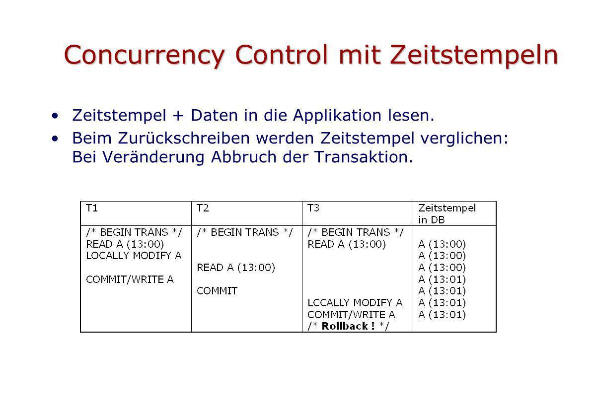 Concurrency Control mit Zeitstempeln Zeitstempel + Daten in die Applikation lesen. Beim Zurückschreiben werden Zeitstempel verglichen: Bei Veränderung