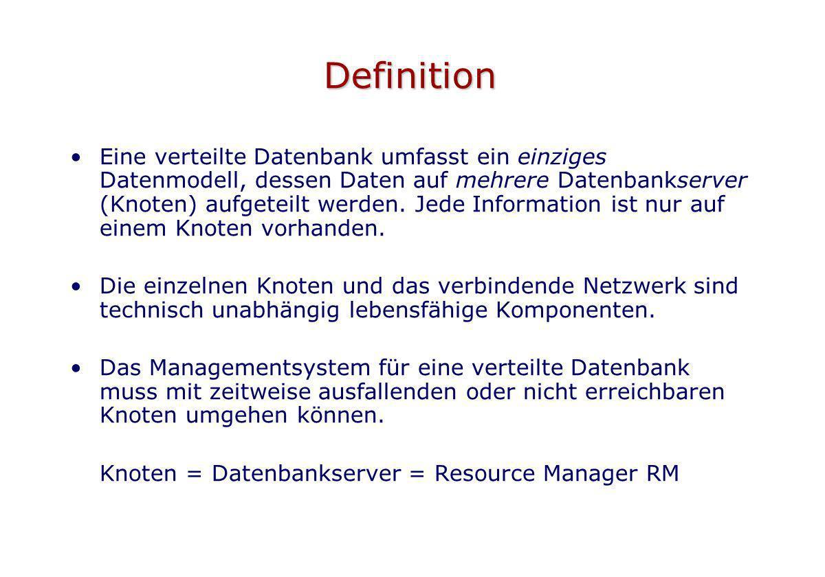 Definition Eine verteilte Datenbank umfasst ein einziges Datenmodell, dessen Daten auf mehrere Datenbankserver (Knoten) aufgeteilt werden. Jede Inform
