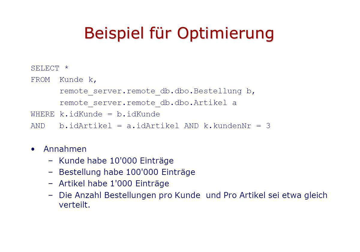 Beispiel für Optimierung SELECT * FROM Kunde k, remote_server.remote_db.dbo.Bestellung b, remote_server.remote_db.dbo.Artikel a WHERE k.idKunde = b.id