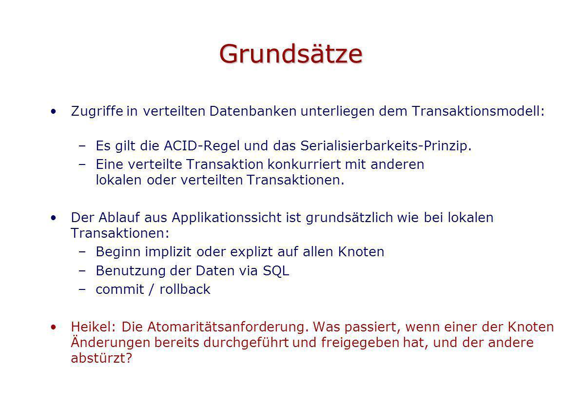 Grundsätze Zugriffe in verteilten Datenbanken unterliegen dem Transaktionsmodell: –Es gilt die ACID-Regel und das Serialisierbarkeits-Prinzip. –Eine v