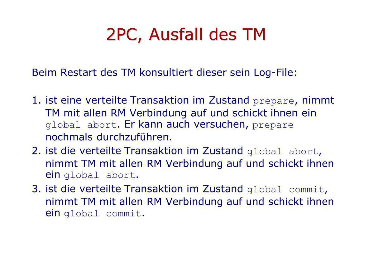 2PC, Ausfall des TM Beim Restart des TM konsultiert dieser sein Log-File: 1.ist eine verteilte Transaktion im Zustand prepare, nimmt TM mit allen RM V