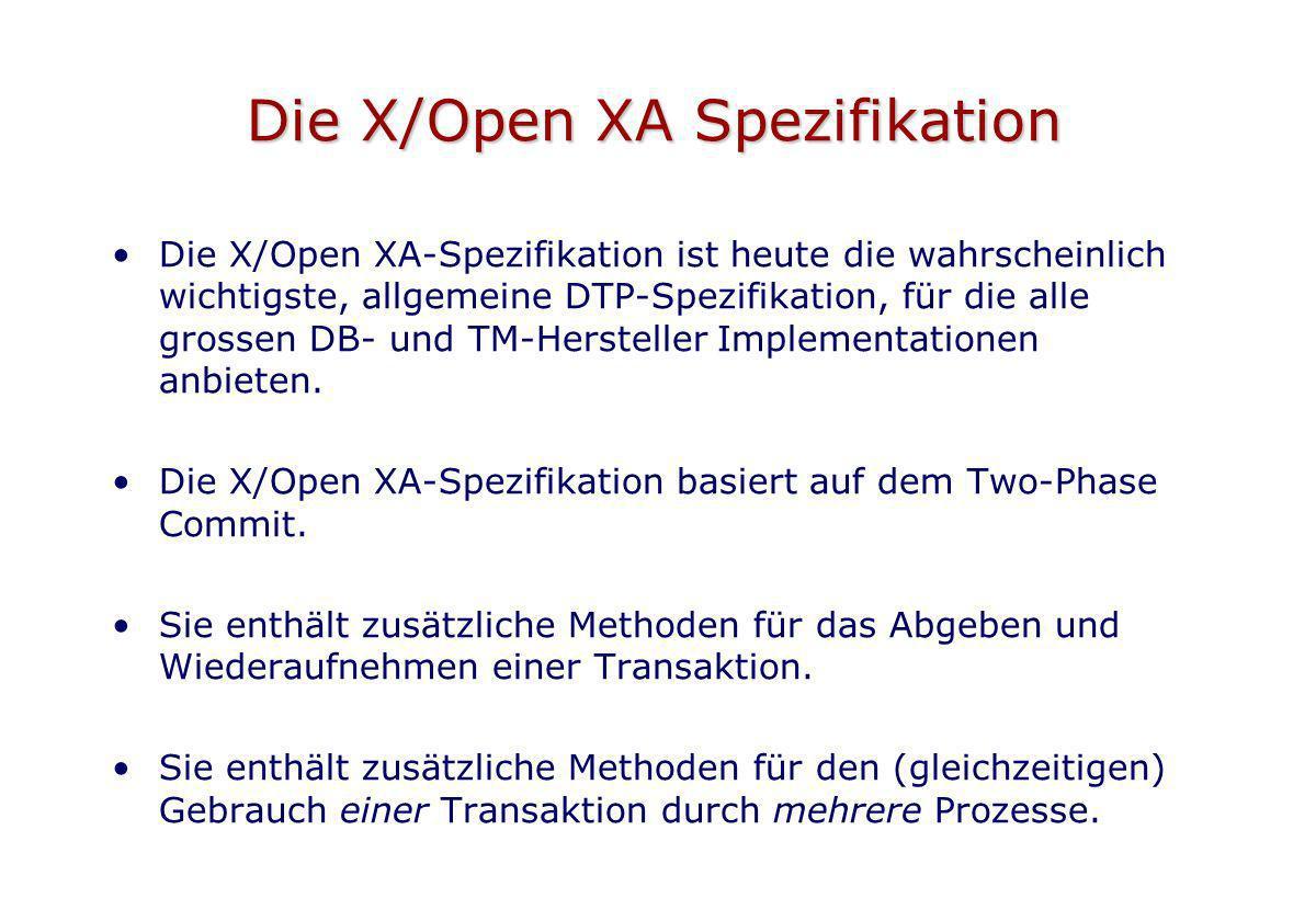Die X/Open XA Spezifikation Die X/Open XA-Spezifikation ist heute die wahrscheinlich wichtigste, allgemeine DTP-Spezifikation, für die alle grossen DB