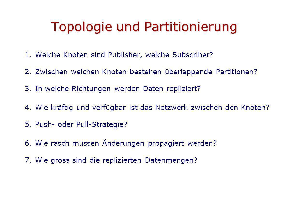 Topologie und Partitionierung 1.Welche Knoten sind Publisher, welche Subscriber? 2.Zwischen welchen Knoten bestehen überlappende Partitionen? 3.In wel