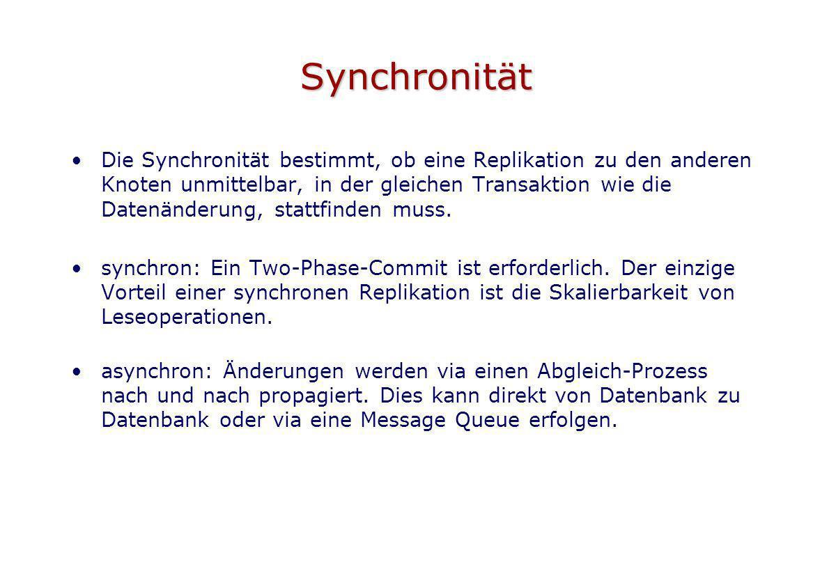 Synchronität Die Synchronität bestimmt, ob eine Replikation zu den anderen Knoten unmittelbar, in der gleichen Transaktion wie die Datenänderung, stat