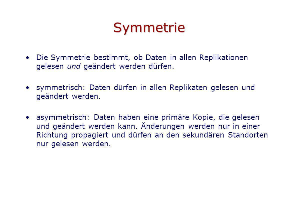 Symmetrie Die Symmetrie bestimmt, ob Daten in allen Replikationen gelesen und geändert werden dürfen. symmetrisch: Daten dürfen in allen Replikaten ge