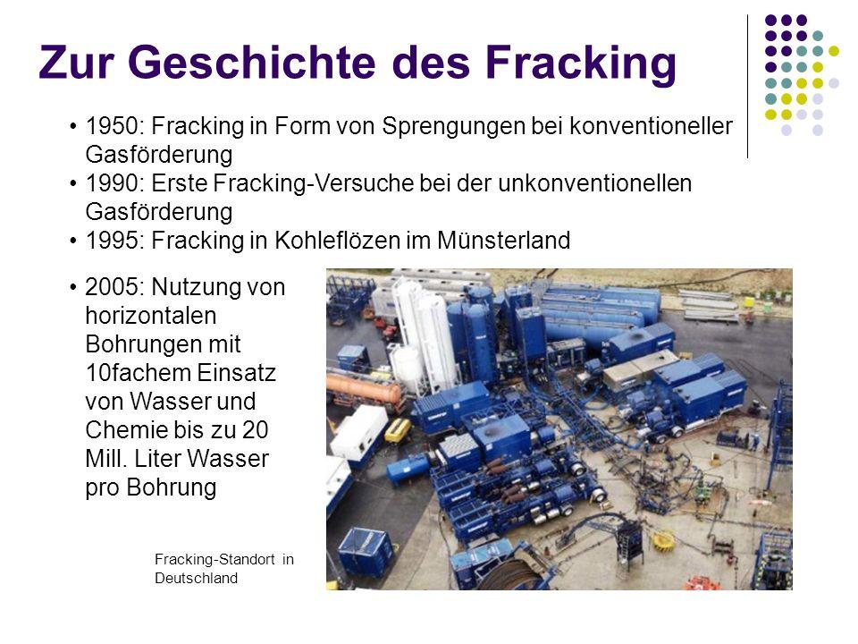 Zur Geschichte des Fracking 2005: Nutzung von horizontalen Bohrungen mit 10fachem Einsatz von Wasser und Chemie bis zu 20 Mill.
