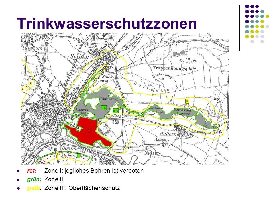 Trinkwasserschutzzonen rot: Zone I: jegliches Bohren ist verboten grün: Zone II gelb: Zone III: Oberflächenschutz