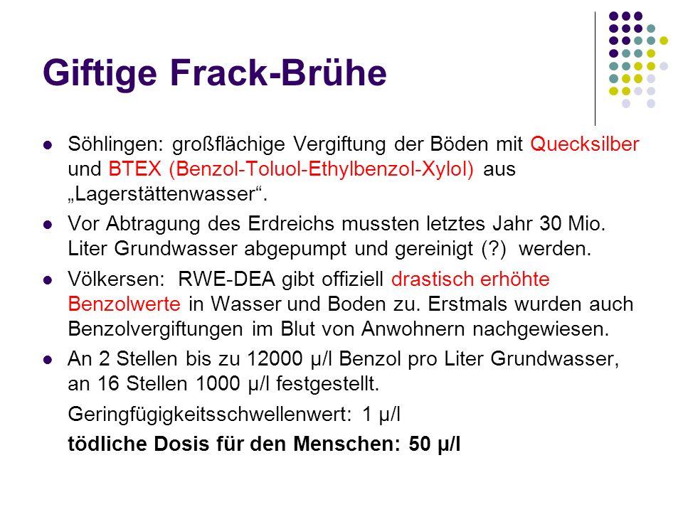 Söhlingen: großflächige Vergiftung der Böden mit Quecksilber und BTEX (Benzol-Toluol-Ethylbenzol-Xylol) aus Lagerstättenwasser.