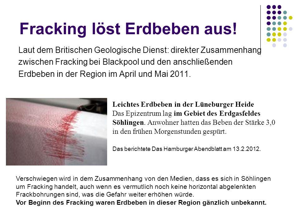 Verschwiegen wird in dem Zusammenhang von den Medien, dass es sich in Söhlingen um Fracking handelt, auch wenn es vermutlich noch keine horizontal abgelenkten Frackbohrungen sind, was die Gefahr weiter erhöhen würde.
