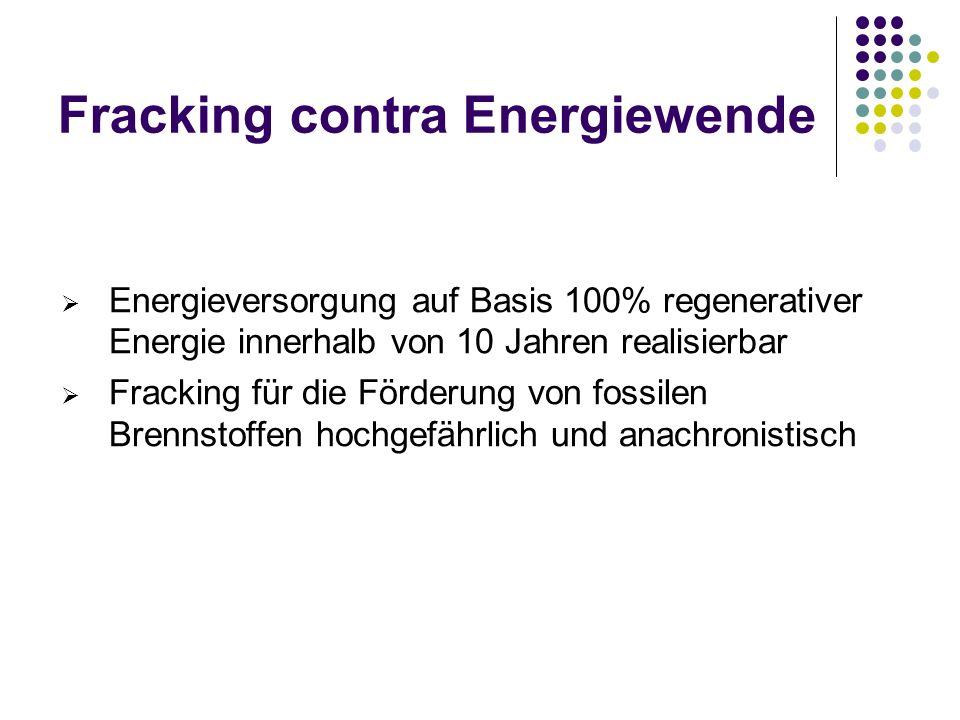 Fracking contra Energiewende Energieversorgung auf Basis 100% regenerativer Energie innerhalb von 10 Jahren realisierbar Fracking für die Förderung von fossilen Brennstoffen hochgefährlich und anachronistisch