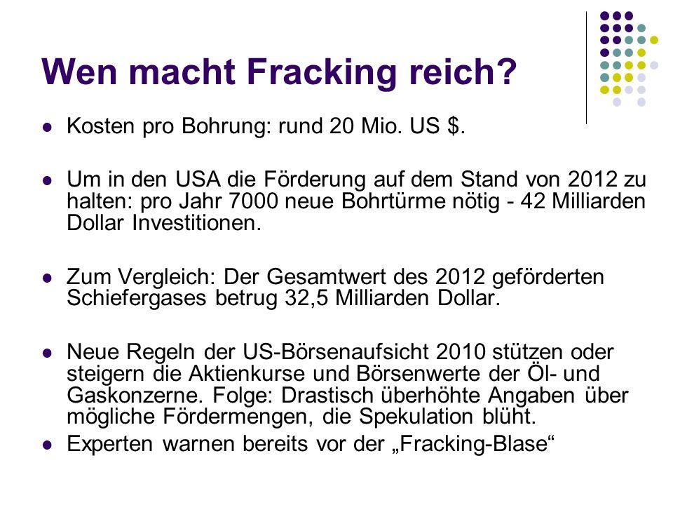 Wen macht Fracking reich.Kosten pro Bohrung: rund 20 Mio.