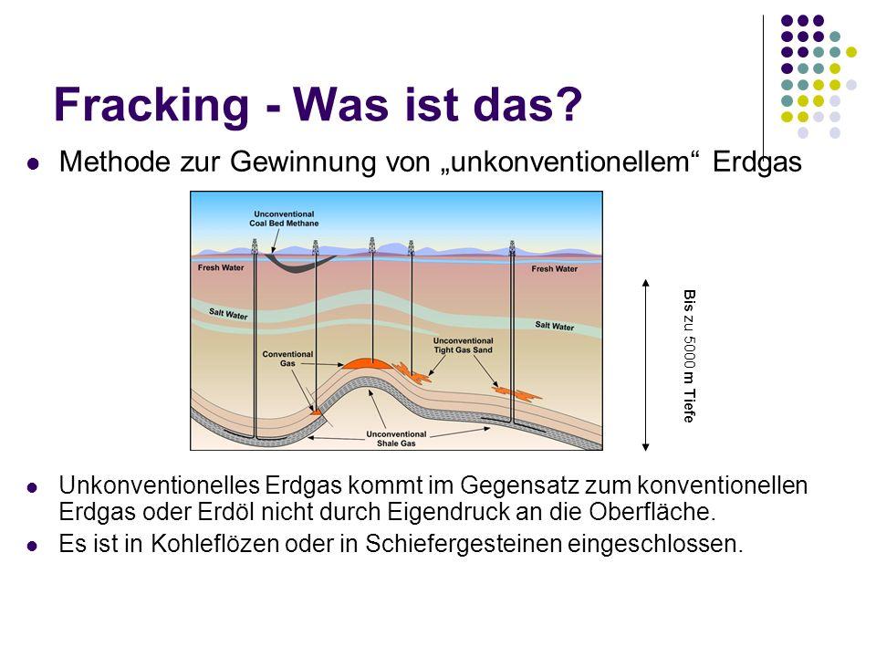 Methode zur Gewinnung von unkonventionellem Erdgas Unkonventionelles Erdgas kommt im Gegensatz zum konventionellen Erdgas oder Erdöl nicht durch Eigendruck an die Oberfläche.