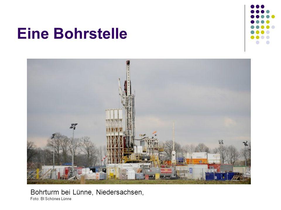 Eine Bohrstelle Bohrturm bei Lünne, Niedersachsen, Foto: BI Schönes Lünne