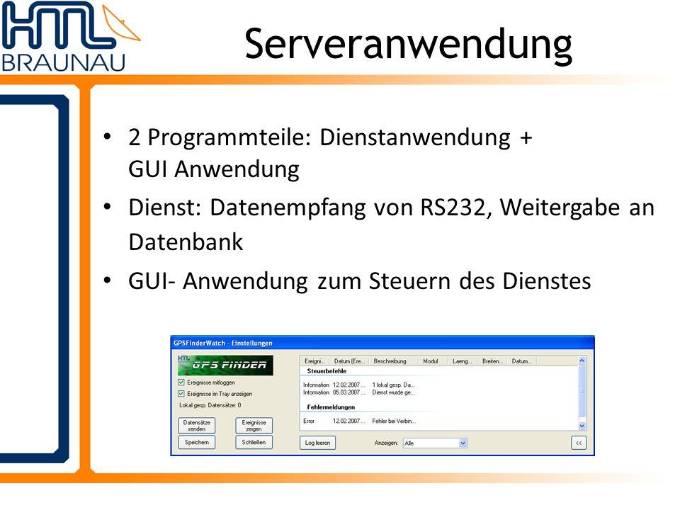 2 Programmteile: Dienstanwendung + GUI Anwendung Dienst: Datenempfang von RS232, Weitergabe an Datenbank GUI- Anwendung zum Steuern des Dienstes Serve