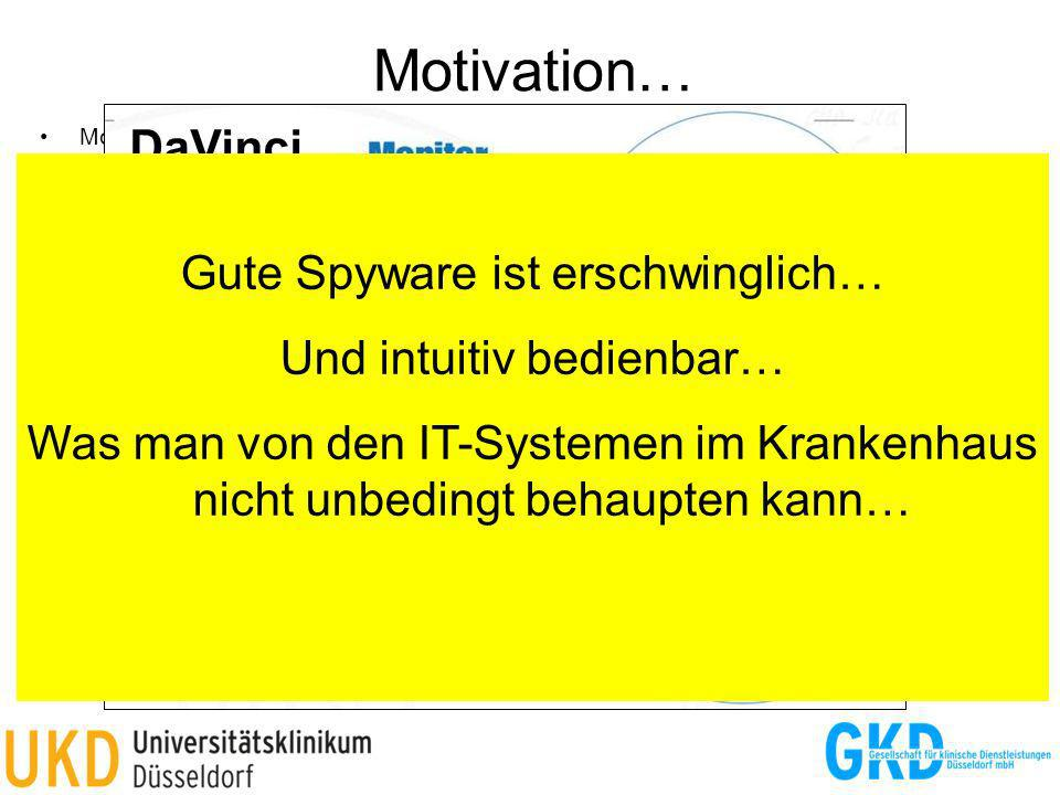 Motivation… MobileSpy (http://www.mobile-spy.com/) –Live Control Panel, SMS, Telefonliste, Webbrowser-History, GPS-Ortung, Photos, … –Android, Windows Mobile, iPhone, Blackberry, Symbian –49,97 $ / 3 Monate FlexiSpy (http://www.flexispy.com/) –SMS, E-Mail, Instant Messenger, Adressbuch, GPS-Ortung, Telefongespräche mithören, … –Android, Windows Mobile, iPhone, Blackberry, Symbian –~ 180 $ (oder Raubkopie übers Internet) FinSpy Mobile (https://www.gammagroup.com/Default.aspx) –Weiterleitung von Telefonaten, SMS-Mitteilungen und E-Mails, Dateien herunterladen, GPS- Ortung, Raumüberwachung über stille Telefonate –Android, Windows Mobile, iPhone, Blackberry, Symbian DaVinci (http://www.hackingteam.it/) –Screenshots, E-Mail, ICQ- und Skype-Kommunikation, Fernsteuerung von Mikrofon und Kamera, GPS-Ortung, Internet-Zugriffe, … –Android, Windows Mobile, iPhone, Blackberry, Symbian, Linux, Windows, Mac OS X –(Nur zur Kriminalitäts-Bekämpfung zu verwenden…) Weitere Anbieter –Elaman (http://www.elaman.de/product-portfolio.php) –@one IT GmbH (http://www.li-suite.com) –Rohde & Schwarz (http://www.rohde-schwarz.de/de/Produkte/funkueberwachungs-und-ortungstechnik/) –Syborg (http://www.syborg.de/) –… DaVinci Gute Spyware ist erschwinglich… Und intuitiv bedienbar… Was man von den IT-Systemen im Krankenhaus nicht unbedingt behaupten kann…