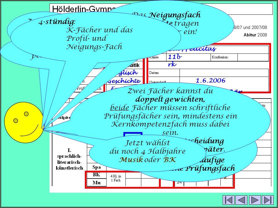 Bär, Felicitas 11b rk 1.6.2006 Felicitas Bär Französisch Englisch Geschichte Englisch P m4444 K s4444 2222 2x 2x Zunächst mal nur den oberen Teil: Fangen wir an mit den persönlichen Daten.