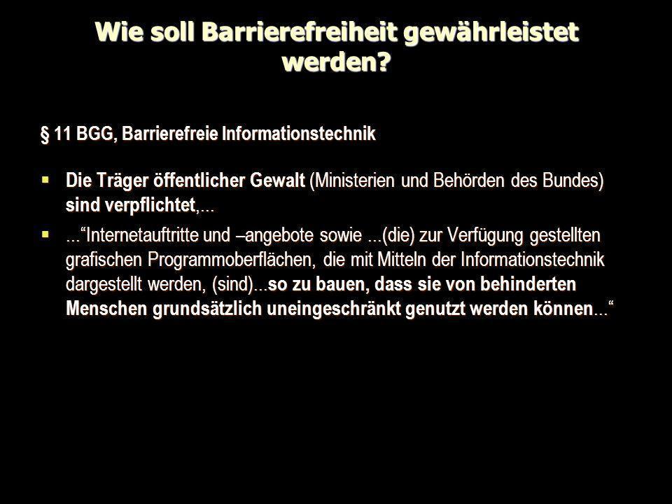 Wie soll Barrierefreiheit gewährleistet werden? § 11 BGG, Barrierefreie Informationstechnik Die Träger öffentlicher Gewalt (Ministerien und Behörden d