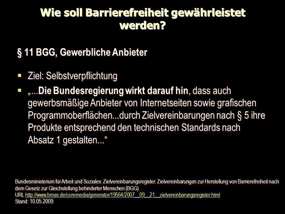 Wie soll Barrierefreiheit gewährleistet werden? § 11 BGG, Gewerbliche Anbieter Ziel: Selbstverpflichtung Ziel: Selbstverpflichtung... Die Bundesregier