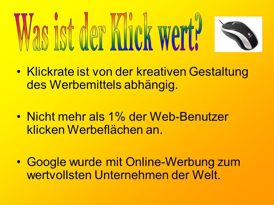 Klickrate ist von der kreativen Gestaltung des Werbemittels abhängig.