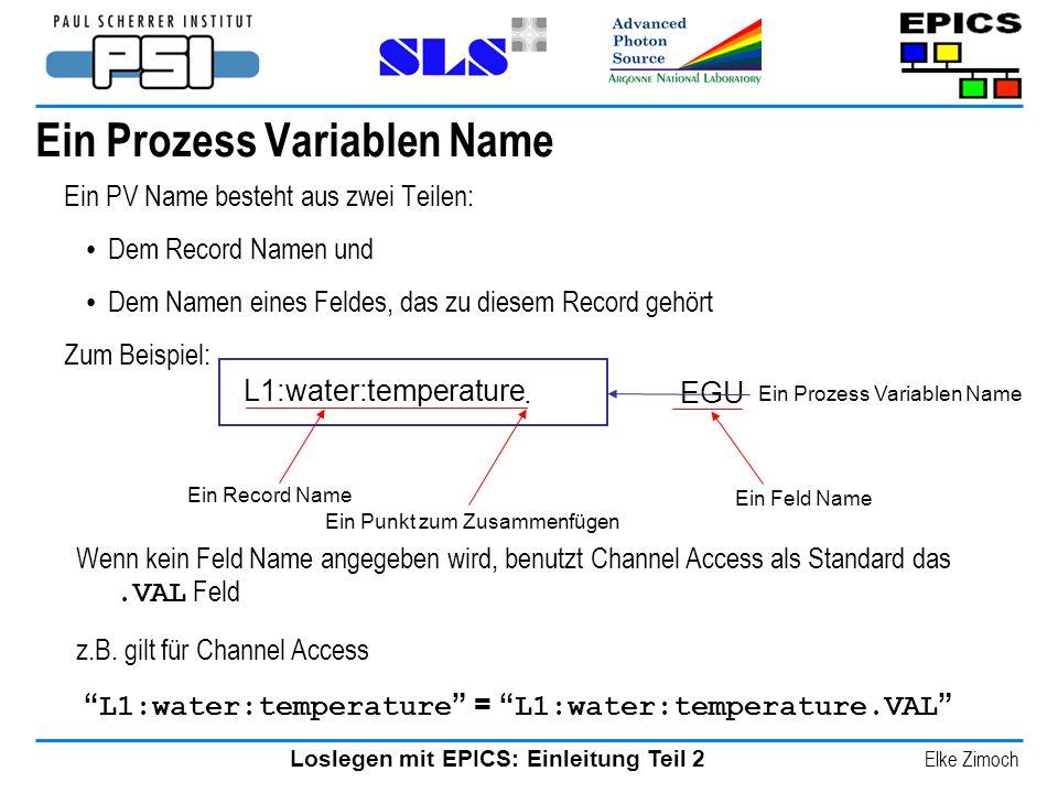 Loslegen mit EPICS: Einleitung Teil 2 Elke Zimoch Ein Prozess Variablen Name Ein PV Name besteht aus zwei Teilen: Dem Record Namen und Dem Namen eines