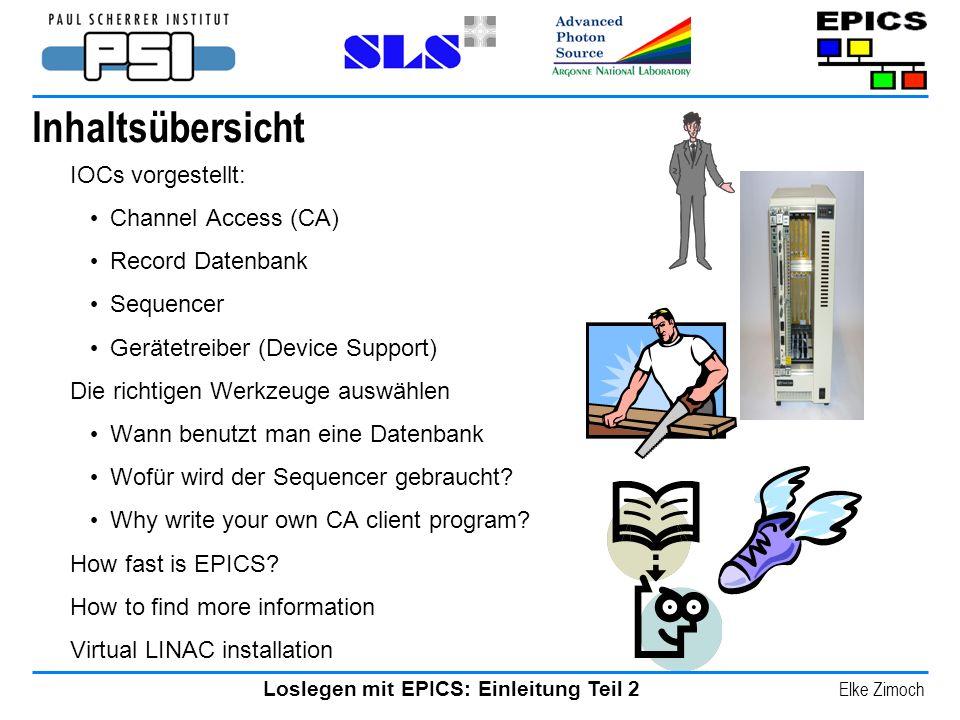 Loslegen mit EPICS: Einleitung Teil 2 Elke Zimoch Inhaltsübersicht IOCs vorgestellt: Channel Access (CA) Record Datenbank Sequencer Gerätetreiber (Dev
