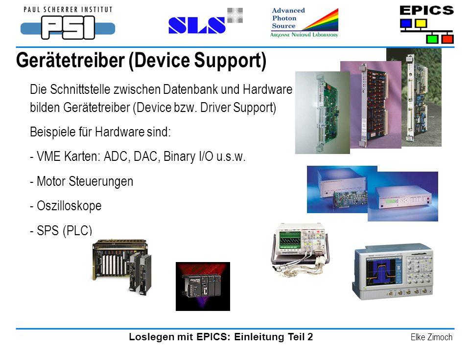 Loslegen mit EPICS: Einleitung Teil 2 Elke Zimoch Gerätetreiber (Device Support) Die Schnittstelle zwischen Datenbank und Hardware bilden Gerätetreibe